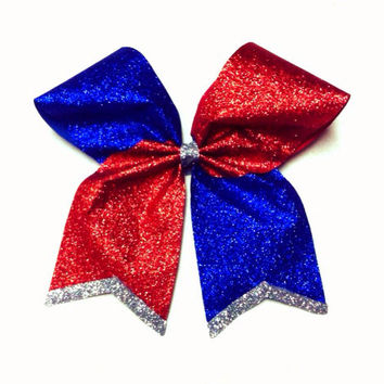 Royal Blue/Red Sparkle All-American Cheer bow