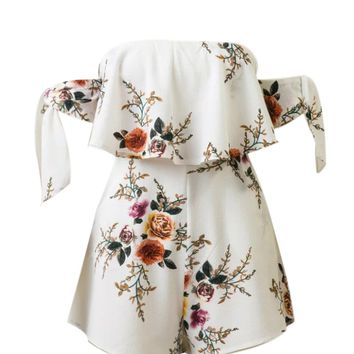 Streetstyle  Casual Tie Sleeve Off Shoulder Flounce Floral Printed Romper