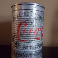 American Coca Cola Tin Can Art Metal Organizer Office Tools Garage Pencils Floral Upcycled Home Decor Fathers Day Gift