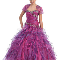 BallGown Sweetheart Organza Floor-length Fuchsia Rhinestone Quinceanera Dress at sweetquinceaneradress.com