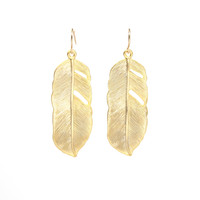 Gold Feather Earrings