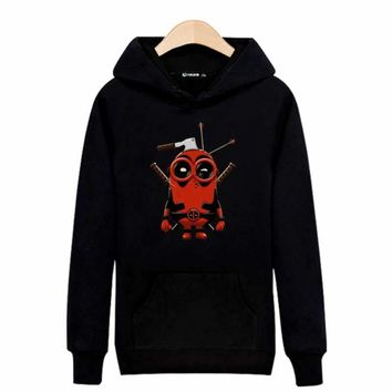 Minions with AX Deadpool Funny Hooded Hoodies Men Clothing Hip Hop in Despicable ME Minion Dead Pool Harajuku Sweatshirt Cotton