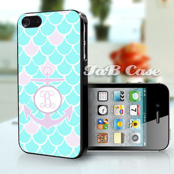 Monogram Mermaid Scales with Anchor iPhone Case. iPhone 4 Case - iPhone 5 Case - iPhone 6 case. Nautical Theme.