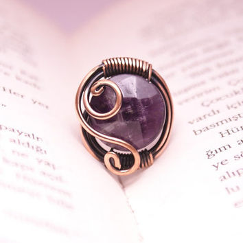 wire wrapped amethyst ring , amethyst jewelry , wire wrapped stone ring , amethyst ring