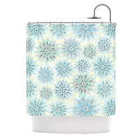 "Julia Grifol ""My Delicate Flowers"" Blue Green Shower Curtain"