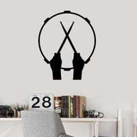 Vinyl Wall Decal Drum Drumsticks Drummer Hands Music Musical Stickers Mural (ig5414)