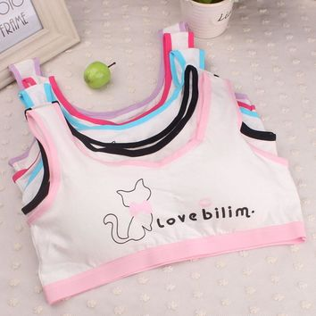 Kids Bra For Teenage Girls Cotton Children Girls Underwear Clothing Teen Sports Bra with Chest Pad Puberty Girl training Bra