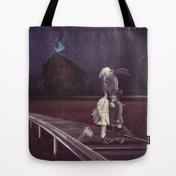 Kiss of love in space Tote Bag by Lostanaw