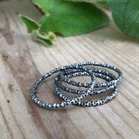 Sterling Silver Textured Stacking Ring Thumb Ring Midi Ring