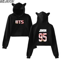 KPOP BTS Bangtan Boys Army WEJNXIN Korean Style  Cherry Blossom Color Women Hood Hoodies Cat  Sweatshirt Pullover Crop Tops Short Clothes Streetwear AT_89_10