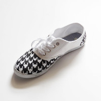 Custom Handpainted Made to Order Houndstooth Canvas Shoes