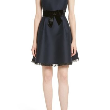 kate spade new york velvet bow fit & flare dress | Nordstrom