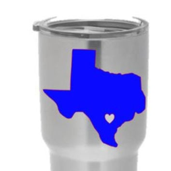 Yeti Tumbler Decal- State of Texas with Optional Heart Cutout
