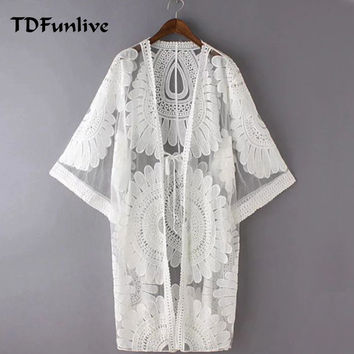 TDFunlive 2017 Pareo Beach Cover Ups Floral Embroidery Bikini Cover Up Swimwear Women Robe De Plage Beach Cardigan Bathing Suit