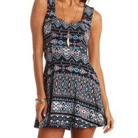 Tribal Print Sweetheart Skater Dress by Charlotte Russe - Black Combo