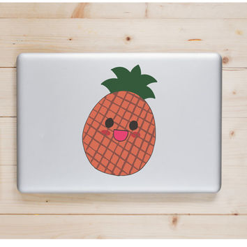 "Pineapple Kawaii Die Cut Sticker // Cute Japanese // Computer & Tablet XL Size // 8"" // Perfect For Indoor, Outdoor, Laptop, Car"