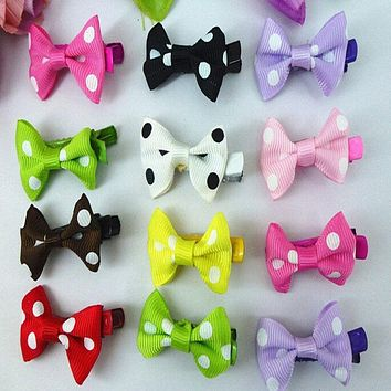 1 Pack /10pcs RANDOM COLOR cute Girl Hair Clip Ribbon Bow Hairband Kids Satin Bowknot Headband HAIR ACCESSORIES
