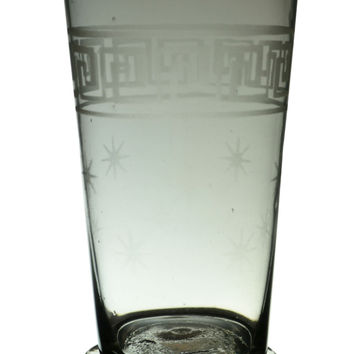 Glass Whisky Tumbler with Stars Antique English circa 1900