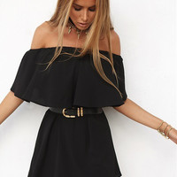 Black Strapless Chiffon Dress 11996