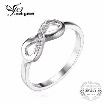 JewelryPalace Infinity Forever Love Cubic Zirconia Anniversary Promise Ring For Women Genuine 925 Sterling Silver Fine Jewelry