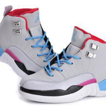 New Air Jordan 12 Retro Kids Shoes Miami Vice Grey Blue