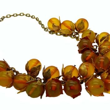 Bakelite Beaded Brass Leaf Necklace