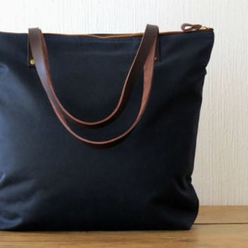 Shop Navy Canvas Leather Tote on Wanelo