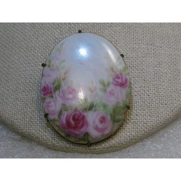 """Victorian Painted Roses Porcelain Floral Brooch, 1.75"""" - Oval"""