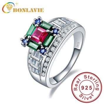 BONLAVIE Quality Luxury Ruby Emerald Sapphire Mix Color Finger Ring Love Square 925 Sterling Silver Rings for Women Size 6/7/8/9