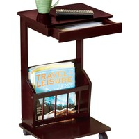 Rolling Side Table, Color Cherry