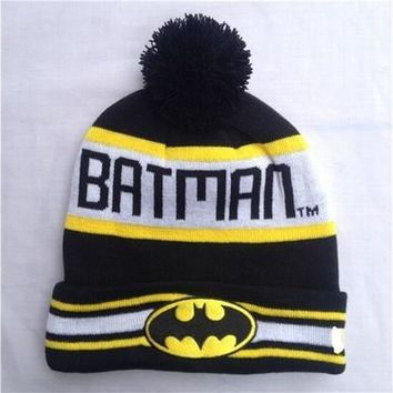 New Fashion Case Tops Cover New Design 2015 Winter Women Men's Batman Beanies Hats Knitted Skullies with Words B2w1 [9305632071]