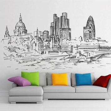 ik2399 Wall Decal Sticker City panorama London England living bedroom