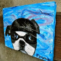 The Wind Beneath My Ears // Dog Portrait // Original Painting // Acrylic on Canvas // Boston Terrier // FREE SHIPPING USA