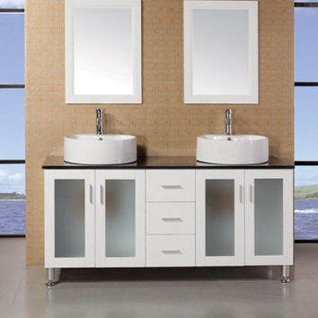 "DESIGN ELEMENT 60"" DEC066D-W White Malibu Vanity Set"