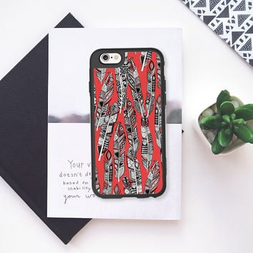 geo feathers red iPhone 6s case by Sharon Turner | Casetify