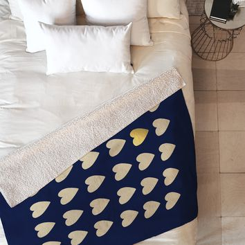 Leah Flores Gold Heart Fleece Throw Blanket