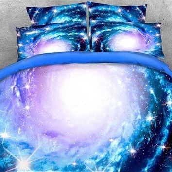 3D Spiral Galaxy and Stars Printed Luxury 4-Piece Blue Bedding Sets/Duvet Covers
