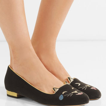 Charlotte Olympia - Cheeky Kitty embroidered velvet pumps