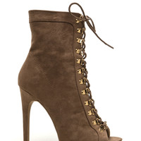 Never Fear Faux Suede Lace-Up Booties