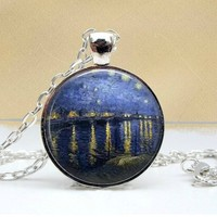 Over The Rhone Dome Pendant Necklace - Famous Van Gogh Painting - Ships 3/21