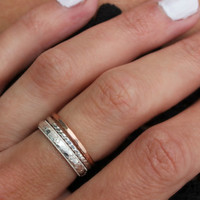 Sterling silver and Rose gold stacking rings, knuckle rings - midi rings, hammered, textured knuckle rings, silver and rose gold rings