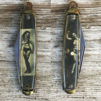 Risqué Nude Pinup Girl Knife Pendant. Thorton USA dudes fob  accessory hipster valentine gift for him sharp blade kk