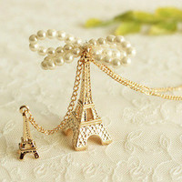 The Eiffel Tower/pearl bowknot golden long necklace from looback