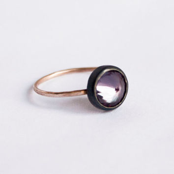 Gold and Black Alexandrite Ring, Synthetic Alexandrite Ring, Gold and Black Ring, Purple Ring, Color Changing Ring