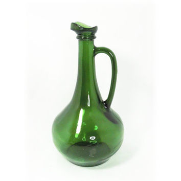 Vintage green glass wine jug wine decanter with spout and handle