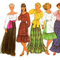 1970s Skirt and Blouse Pattern Bust 32 Simplicity 8244 Off Shoulder Peasant Blouse Maxi Skirt Day Evening Boho Womens Vintage Sewing Pattern