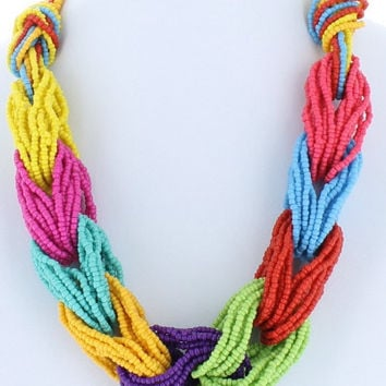 Trendy Twist Seed Bead Twisted Necklace Beaded Fashion Multi Color Rainbow Bead Costume Jewelry Gift