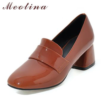 Meotina Shoes High Heels Pumps Fashion High Heels Patent Leather Dress Heels Square Toe Women Shoes Brown Pink Big Size 34-43