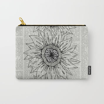 Sunflower Sketch Carry-All Pouch by JustV