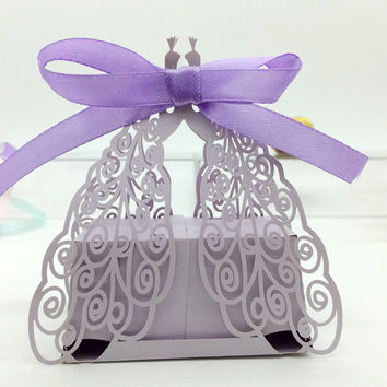 50pcs Romantic Butterfly Candy Cookie Boxes Wedding Favors